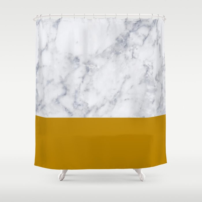 Marble Mustard Yellow Color Block Shower Curtain