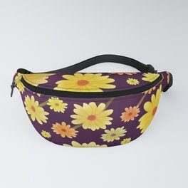 Yellow dots, Yellow Flower, Floral Pattern, Yellow Blossom Fanny Pack