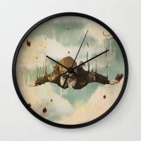 plane Wall Clocks featuring -Plane  crasH- by antoniopiedade