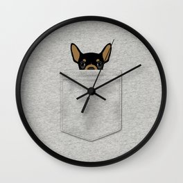 Pocket Chihuahua - Black Wall Clock