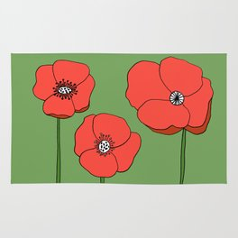 Red Poppies by Emma Freeman Designs Rug