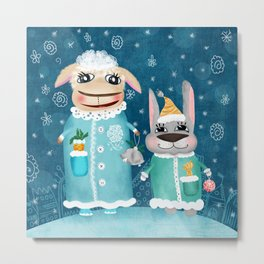 Funny illustration with sheep and rabbit Metal Print