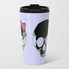 Green skull with heart and bow Travel Mug