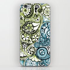 Blue Lime Paisley iPhone & iPod Skin