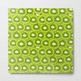 Seamless hand drawn vector pattern of bright kiwi fruit slices Metal Print