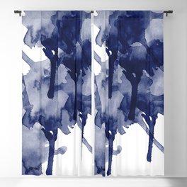 Indigo Blue Abstract Art Modern Splash RegiaArt Blackout Curtain