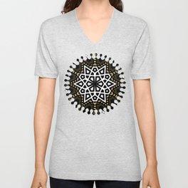 Black White + Gold Geometric Star Unisex V-Neck