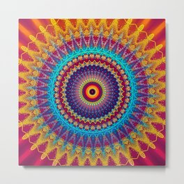 Fire and Ice Mandala Metal Print