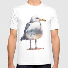 Seagull print MEDIUM Mens Fitted Tee White