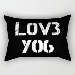 Love you typography black pattern Rectangular Pillow