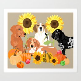 Coonhound Autumn Art Print