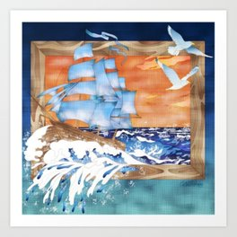 Ship Sails Out of Frame Art Print