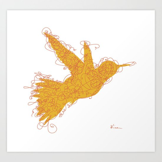 Bird Fly No. 1  (orange) Art Print