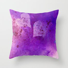 Spatters on my purple hearts Throw Pillow