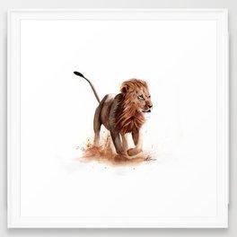 Lion in Watercolour Framed Art Print