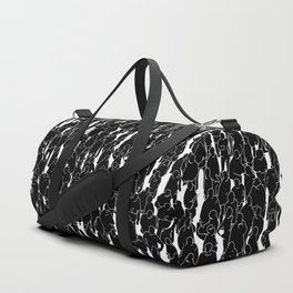 Public assembly B&W inverted / Lineart people pattern Duffle Bag
