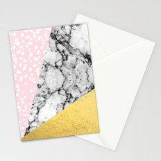 Corvi - marble gold foil and pink pastel painting abstract art dorm college nursery decor gifts Stationery Cards