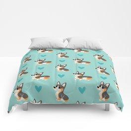 Tri-Color Corgi Pups Comforters