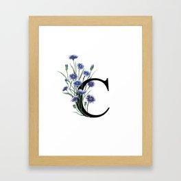 Letter 'C' Cornflower Typography Framed Art Print