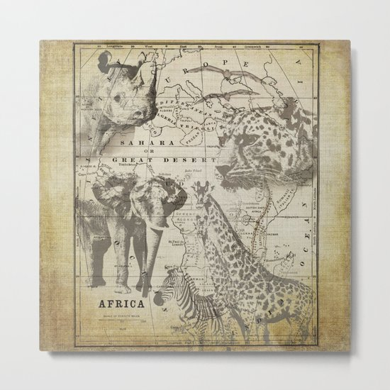Out of Africa vintage wildlife art Metal Print