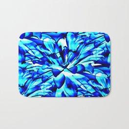 Painterly Ocean Blue Floral Abstract Bath Mat