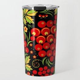 Red berry ornament khokhloma Travel Mug