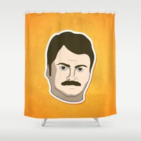 ron swanson Shower Curtains featuring Ron Swanson by irosebot