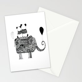 Panda. Love. Elephant travel Stationery Cards