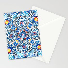 Blue-red mandala Stationery Cards