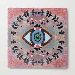 Vintage Middle Eastern Antique Evil Eye Protection Panel Print Metal Print