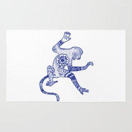 Blue Monkey Mandala Tribal Drawing Rug