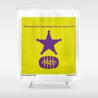 toy story Shower Curtains featuring No190 My Toy Story minimal movie poster by Chungkong