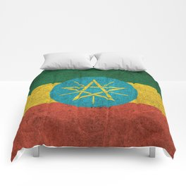 Old and Worn Distressed Vintage Flag of Ethiopia Comforters