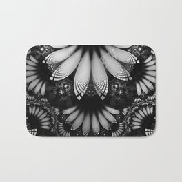 Shikoba Fractal -- Glittering Black and White Feathers in the Night Bath Mat