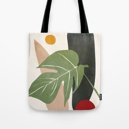 Abstract Monstera Leaf Tote Bag