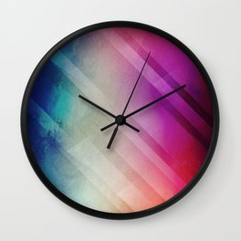 Vivid - Colorful Geometric Mountains Texture Pattern Wall Clock