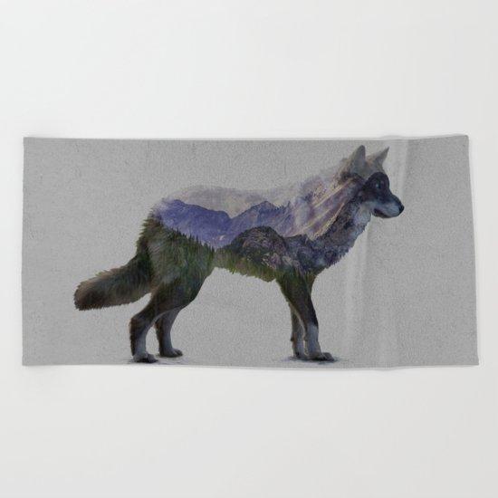 The Rocky Mountain Gray Wolf Beach Towel