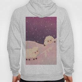 Cartoon Baby Sheep, Red Violet Snowy Bokeh Background Hoody