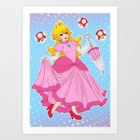 princess peach Art Prints featuring PRINCESS PEACH by Laurdione