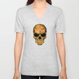 Dark Skull with Flag of New Mexico Unisex V-Neck
