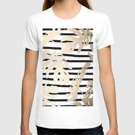 Simply Tropical White Gold Sands Palm Leaves on Stripes T-shirt