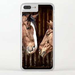 Horses in the Stable Clear iPhone Case
