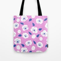 cherry blossoms Tote Bags featuring Cherry blossoms by Anneline Sophia