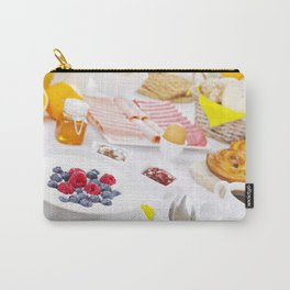 II - Table full with continental breakfast items, brightly lit Carry-All Pouch