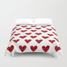 Heart love valentines day gifts hearts with faces cute valentine Duvet Cover