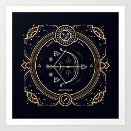 Sagittarius Zodiac Golden White on Black Background Kunstdrucke