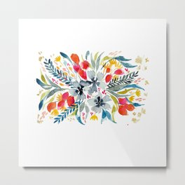 Floral Bouquet in red and blue Metal Print