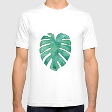 Monstera Leaf Mens Fitted Tee MEDIUM White