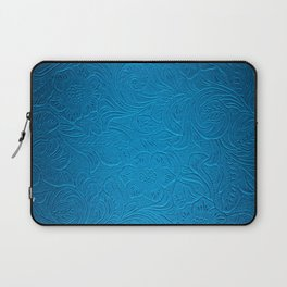 Royal Blue Tooled Leather Laptop Sleeve