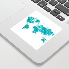 Turquoise Sea Glass World Map Sticker